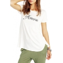 White Short Sleeve Amore Print T-Shirt