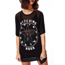 Black Clock and Letter Sheer Short Sleeve Tee