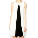 Color Block Sleeveless Round Neck Dip Hem Dress