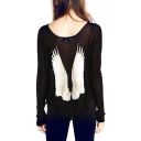 Vintage Long Sleeve Wings Print Back T-Shirt