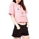 Pink Cartoon Cat Print Short Sleeve Crop T-Shirt