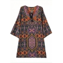 Round Neck 3/4 Sleeve Gorgeous Tribal Print Shift Dress