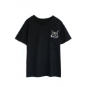Black Pocket Embroidered Cat Head T-Shirt