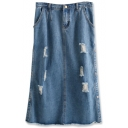 Blue Ripped Side Split Fitted Midi Denim Skirt