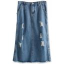 Blue Ripped Side Split Fitted Midi Denim Skirt