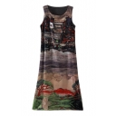 Vintage Village Print Unique Style Chiffon Tanks Dress