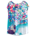 Balloons&Flying House Print T-Shirt