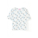 Blue Winged Heart Print White Crop T-Shirt