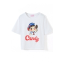 White Short Sleeve Schoolgirl with Candy Crop T-Shirt