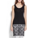 Black Lace Cutwork Panel Hem Slim Tanks Dress