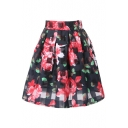 Checker&Red Flower Organza Pleated Skirt