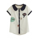 White Short Sleeve Blue Trim&Lapel Kitten Embroidered Shirt