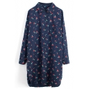 Dark Blue Long Sleeve Cherry Print Midi Shirt
