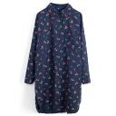 Dark Blue Long Sleeve Cherry Print Midi Shirt