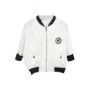 White 3/4 Sleeve Star Print Crop Baseball Jacket