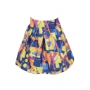 Shopping Girl Print Black High Waist Dark Blue Organza Skirt