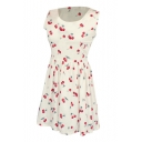 White Background All Over Cherry A-line Tanks Dress