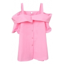 Pink Off-the-Shoulder Short Sleeve Slip Shirt