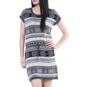 Geometric Pattern Round Neck Short Sleeve Drawstring Fitted Knit Dress