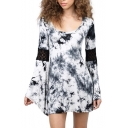 Ink Color Print Round Neck Lace Insert Flare Sleeve Dress