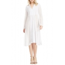 White Plain Sheer V-Neck Long Sleeve Chiffon Midi Dress