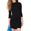 Ladylike Concise Black Round Neck 3/4 Sleeve Asymmetric Hem Dress