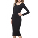 Plain Round Neck Long Sleeve Fitted Dress