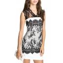 Lace Crochet V-Neck Sleeveless Fitted Dress