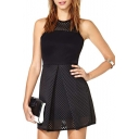 Cutout Sleeveless Pleated Mini Dress with Zip Back