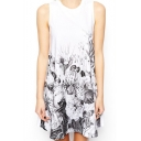 Floral Ink Print Round Neck Sleeveless Tank Dress