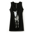 Horse Print Black Round Neck Zip Back Sleeveless Tank Dress