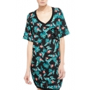 V-Neck Short Sleeve Green Leaves Print Vintage Dress