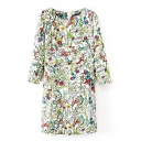 White Floral Print Long Sleeve Round Neck Shift Dress