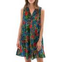 Floral V-Neck Sleeveless Loose Midi Dress