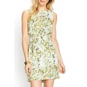 Fresh Floral Sleeveless Round Neck Fitted Dress