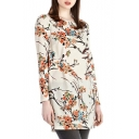 Ink Floral Long Sleeve Round Neck Zip Dress