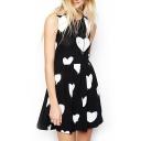 Heart Print Sleeveless Round Neck Pleated Dress
