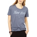 Gray Short Sleeve New York Print Fitted T-Shirt