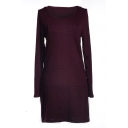 Plain  Long Sleeve Round Neck Fitted Dress