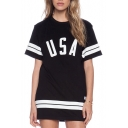 Black USA Striped Print Short Sleeve Dress