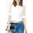 White 1/2 Sleeve Round Neck Sheer Gauze Insert T-Shirt