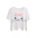 White Cat with Bow Scalloped Hem T-Shirt