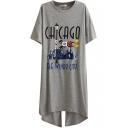 Gray Short Sleeve Back Split Chicago Print Dress