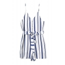 Blue Vertical Stripe V-Neck Slip Bow Waist Rompers