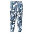 White Background Blue Paisley Print Harem Crop Pants