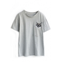 Gray Pocket Embroidered Cat Head T-Shirt