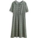Green Floral Print Lapel Short Sleeve Midi Dress