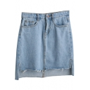 Light Blue Dip Hem Tube Denim Mini Skirt