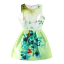 Green Fresh Flower Print Sleeveless Fit&Flare Dress