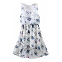 White Background Blue Flower Elastic Waist Chiffon Tanks Dress